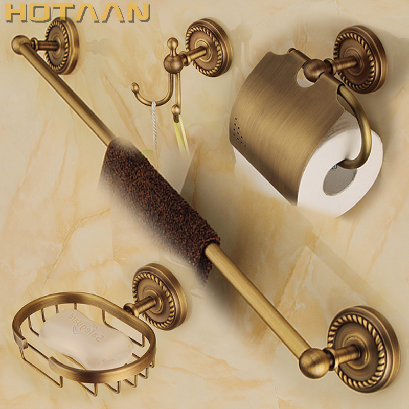 Free shipping,solid brass Bathroom Accessories Set,Robe hook,Paper Holder,Towel Bar,soap basket,bathroom sets,YT-12200-B free shipping solid brass bathroom accessories set robe hook paper holder towel bar bathroom sets antique brass finish yt 12200