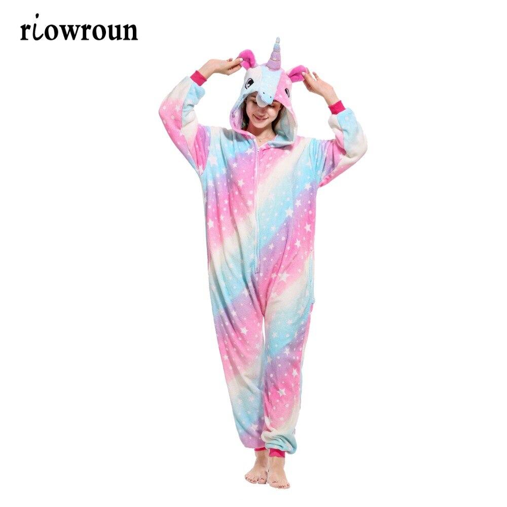 2018 Winter pink unicorn   Pajama     Sets   Cartoon Sleepwear Women   Pajama   Flannel Animal Stitch Panda Unicorn Tigger   Pajama   for women