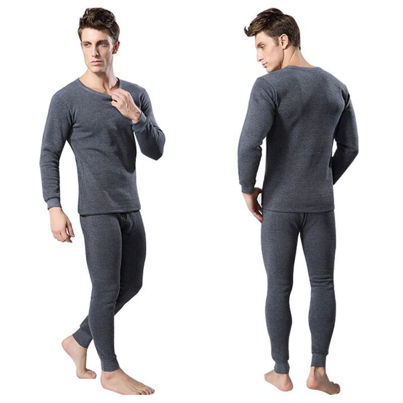 Men 2Pcs Cotton Thermal Underwear Set Winter Warm Thicken Long Johns Tops Bottom 3 Colors HM0