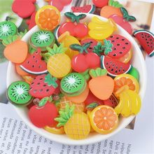 OOTDTY 3pcs Rubber Fruit Slices Slime Charms Supplies For Fluffy DIY Clear Accessories Putty Clay Toys Kids