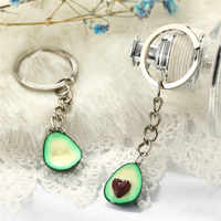 1Pc 3D Printed Soft Pottery Avocado Heart Keychain Couples Jewelry Fruit Key Chain Ring Keyring Couple Bag Chain Jewelry
