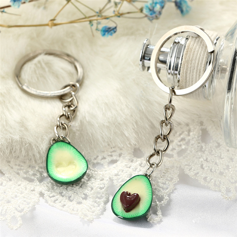 1Pc/Pair  3D Printed Soft Pottery Avocado Heart  Keychain Couples Jewelry Fruit Key Chain Ring Keyring Couple Bag Chain Jewelry