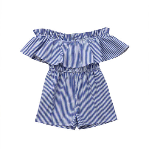 Toddler Baby Girl Clothing Off Shoulder   Romper   Striped Cotton Cute Jumper Jumpsuit Sunsuit Outfits Clothes Baby Girls 6M-5T