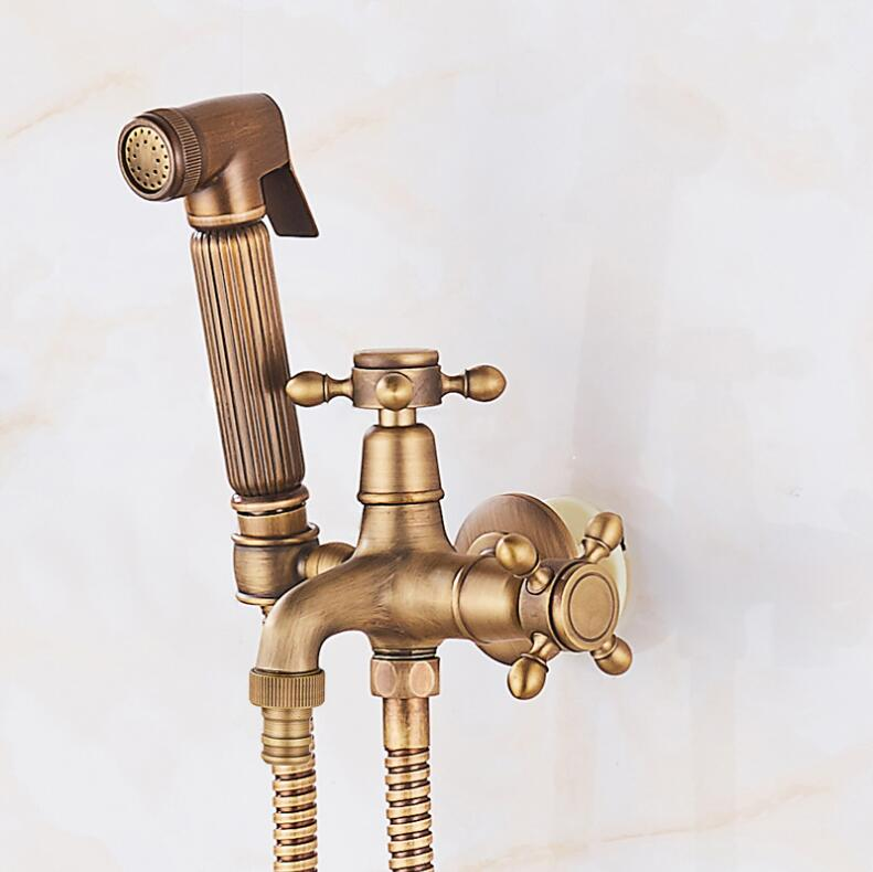 Antique Bronze Bidet toilet seat sprayer gun Hygienic Shower set Portable bidet faucet with brass shower