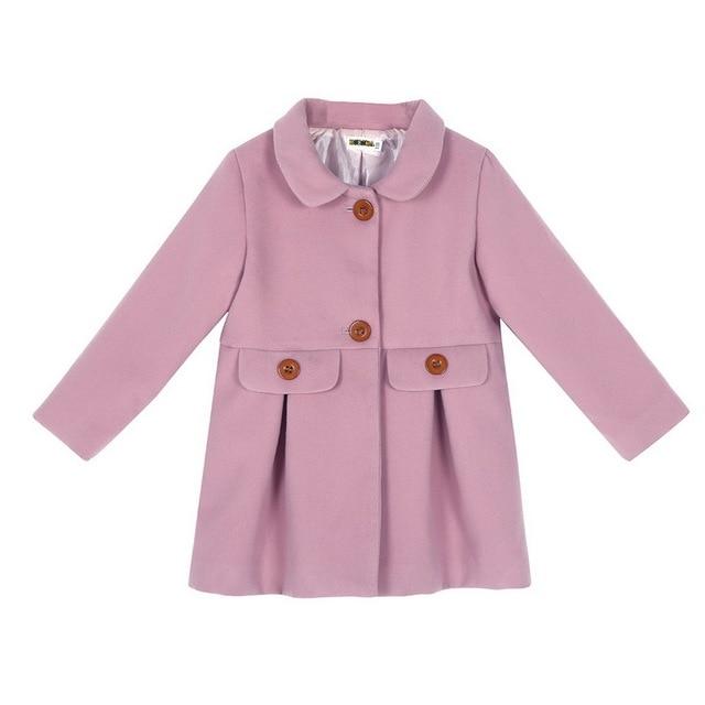 Autumn Winter Children Girls Coat Hooded Thick Girls Woolen+Chemical fiber Coat 2-6 Years Kids Outerwear For Girls