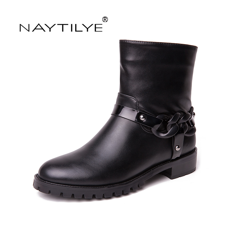 Фотография NAYTILYE fashion New 2018 PU ankle boots shoes woman round toe square heels zipper chain spring autumn black size 36-41