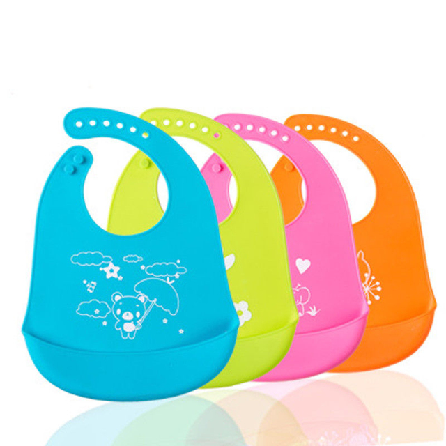 Hot Selling Baby Children Silicone Stereo Bib Adjustable Waterproof Bibs Crumb Catcher 2017 New Bebes Plastic Bibs Easy Clean