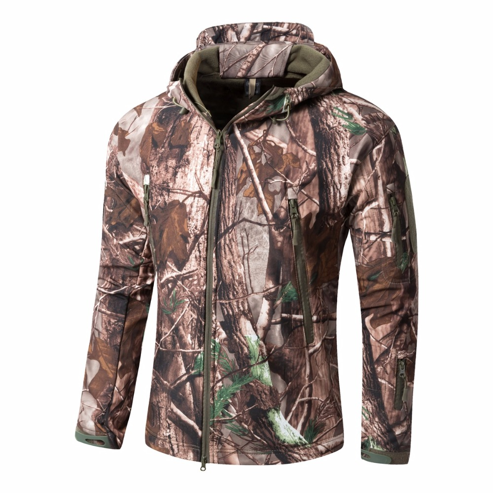 Men Bionic Camouflage Hunting Jacket Water-repellant Hooded Softshell with Fleece Outdoor Tactical lHiking Jacket Hunting Jacket цена 2017
