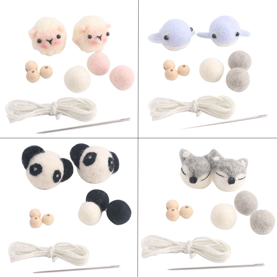 1set Lovely Wool Balls Aniaml DIY Crib Mobile Accessories Baby Mobile Handmade DIY Crafts Baby Toy Bed Bell Rattle Newborn Gifts