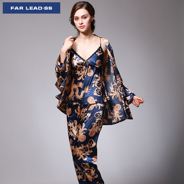 6dfe0431f6 FAR LEAD Chinese style Women pajamas set Nightgown suit sexy bathrobe  emulation silk robe luxury sleepwear Lingerie Sleepwear