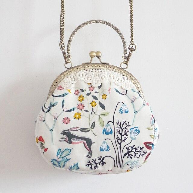 LilyHood Handmade Women Cartoon Printing Small Shoulder Bag Female Lace Vintage Cute Chic Fabric Cell Phone Chain Crossbody Bag