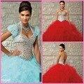 Nu e do Aqua cheio frisado 15 vestido de tom vintage beading modest vestido de baile quinceanera vestido com jaqueta
