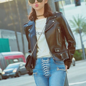 2015 latest faux leather jacket black women motorcycle ladies leather women coat suede coat PU jacket coat Leather jacket women Косуха