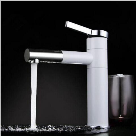 Swivel Water Tap White and Chrome brass bathroom faucet hot and cold basin faucet Single Handle sink faucet tap single handle bathroom faucet basin carving tap swivel sink water tap antique brass hot and cold kitchen mixer faucet with hose