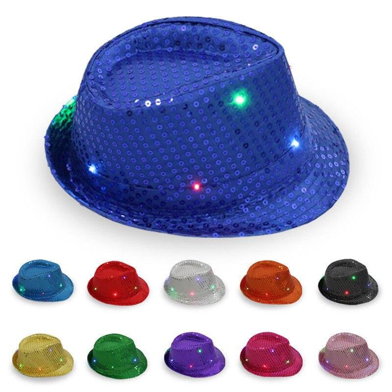 fe5d10d4674 Flashing Light Up LED Fedora Trilby Sequin Fancy Dress Dance Party Hat  Unisex 1P
