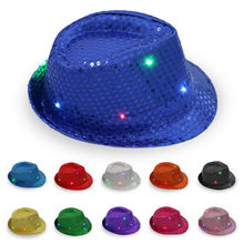 Flashing Light Up LED Fedora Trilby Sequin Fancy Dress Dance Party Hat  Unisex 1P(China 03198a6d8d8f
