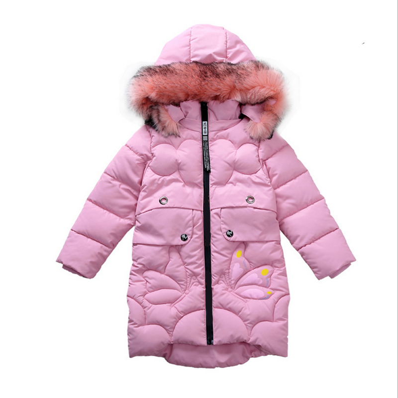 2017 New Girls Jacket winter jackets thickening down coat children girl kids clothes coats korean 4-10 year fashion birthday girls down coats girl winter collar hooded outerwear coat children down jackets childrens thickening jacket cold winter 3 13y