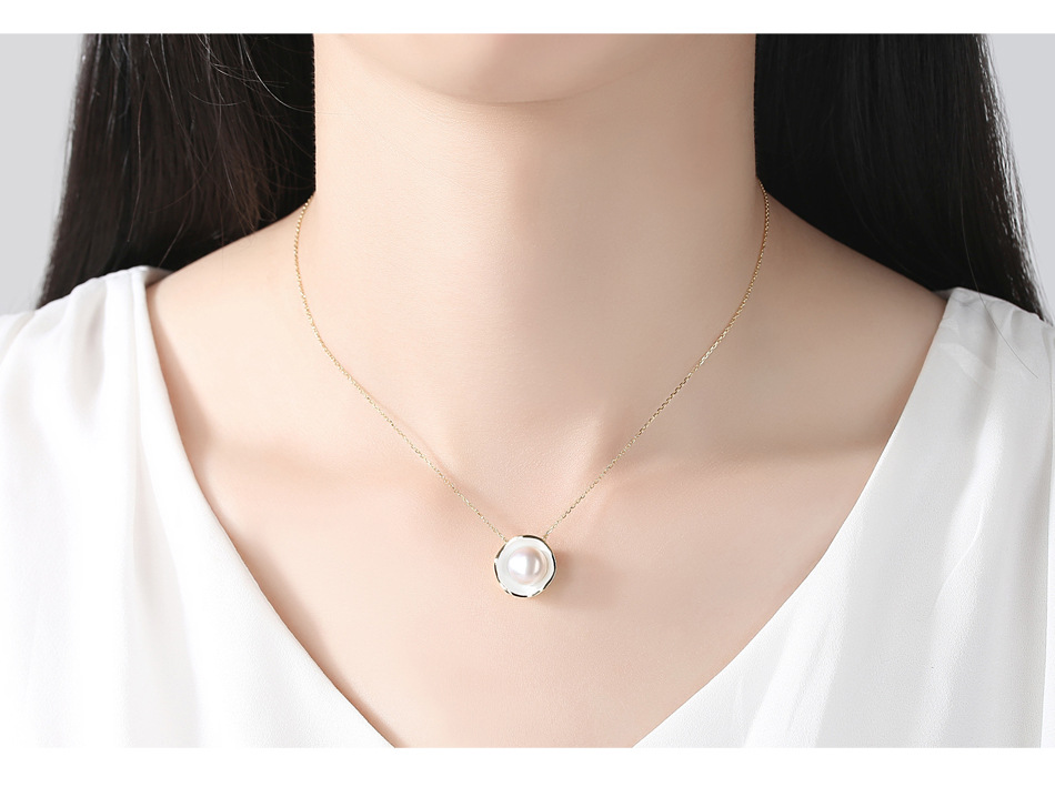 S925 sterling silver necklace clavicle chain natural freshwater pearl pendant silver jewelry GS02 equte psiw3coot1 s925 sterling silver necklace cat s eye axe pendant chain white silver 16
