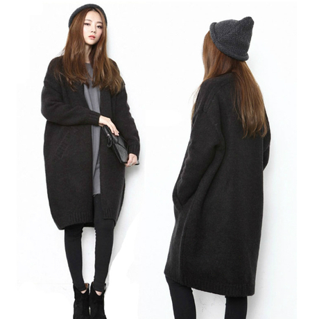 Black Free Shipping Cardigan Women Plus Size Sweater Women Poncho ...