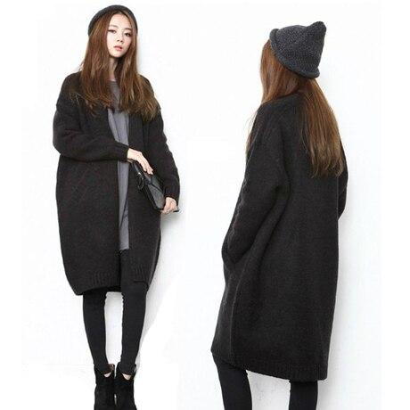e74567706f5 Black Free Shipping Cardigan Women Plus Size Sweater Women Poncho Sweaters  Coat Female Winter Coat Long Sweater