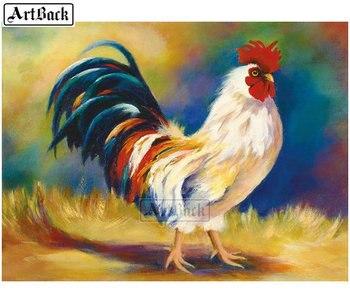 Juego de pintura al óleo 5d cuadrado completo pintura al óleo de un gallo bordado de diamantes de imitación resina mosaico pintura decorativa animal