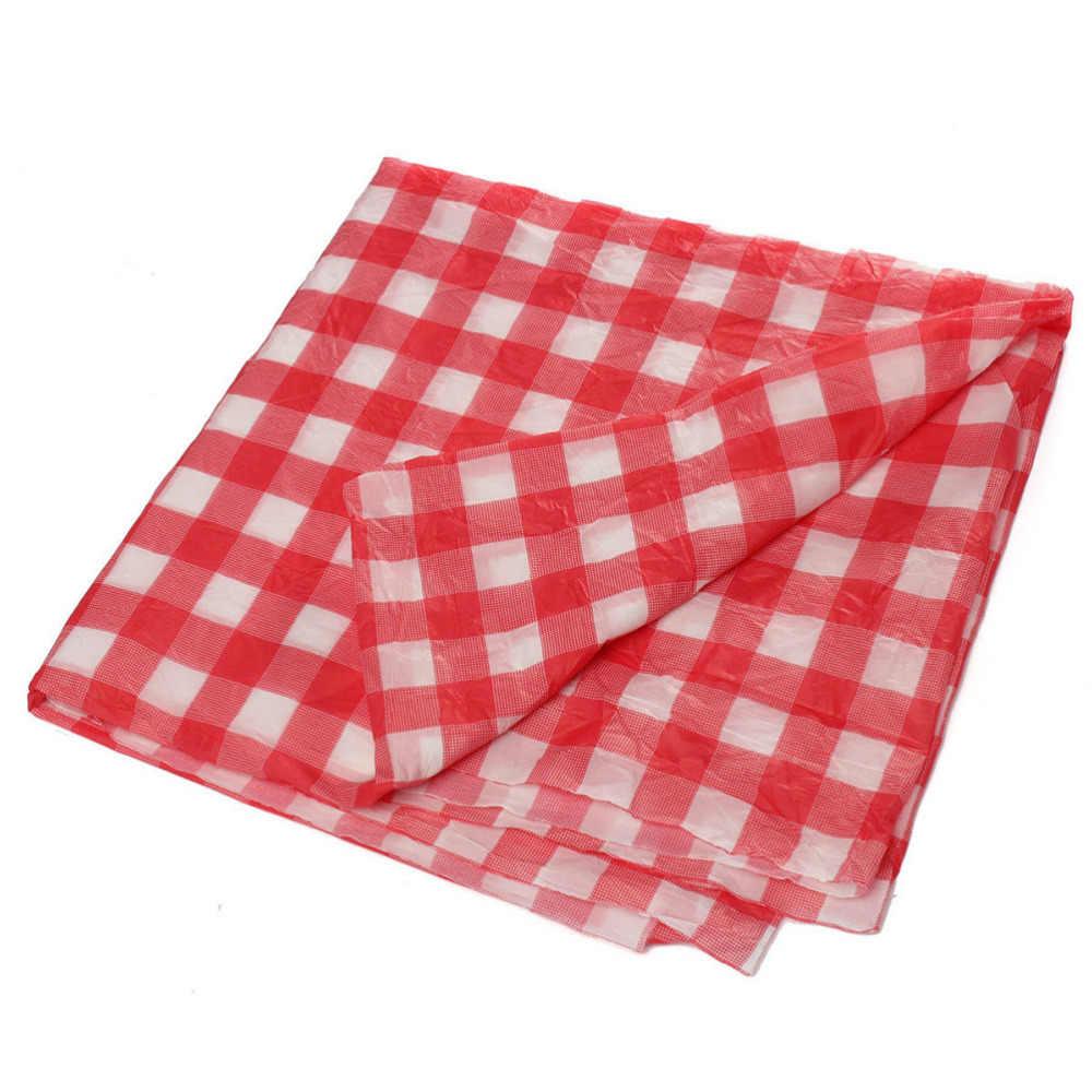שולחן בד אדום אריג צבעוני פלסטיק חד פעמי לנגב לבדוק מפת למסיבה חיצוני פיקניק מנגל 1 PCS 160cm * 160cm