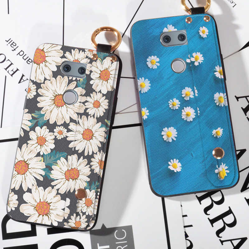 Flowers Phone Case For LG Optimus G4 G4C G5 G6 Cover Wrist Strap Hand Band Cases For LG Magna V20 V30 Bag Cover