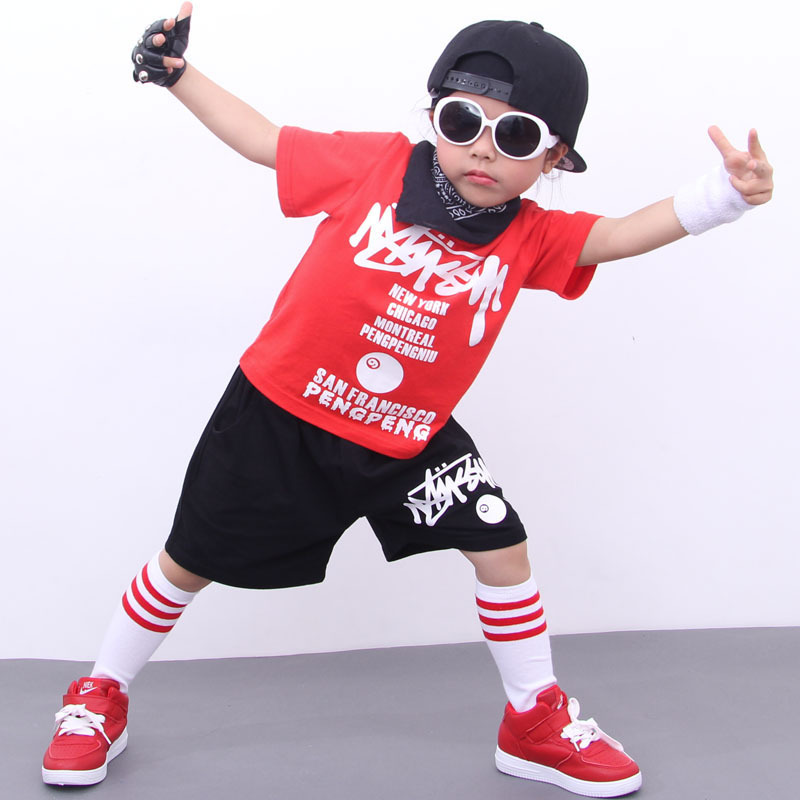 Summer girls clothing sets hip-hop T-shirt pants teenager clothes jazz costumes children clothing boys sport suit kids tracksuit