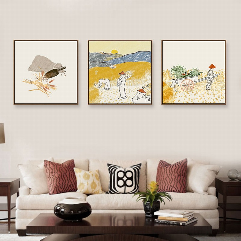 New Chinese Poster Twenty-four Solar Terms Abstract Art Modern Warm Restaurant Wall Painting Kitchen Fresh Home Fruit Home Decor