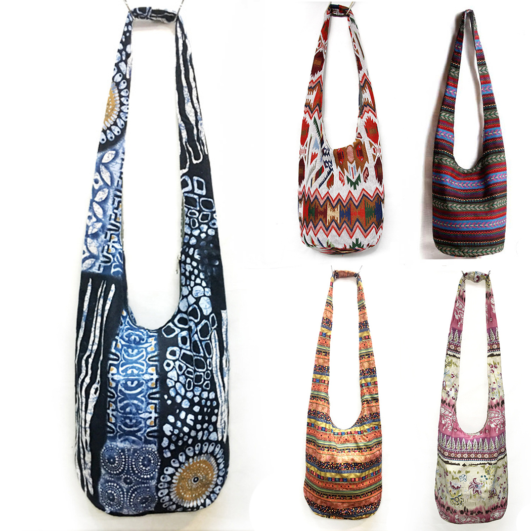 Baellerry Women Hippie Gypsy Tribal Crossbody Bags Unique Ethnic Shoulder Bag Cotton Thai Handbags Hipster Handmade Travel Bags