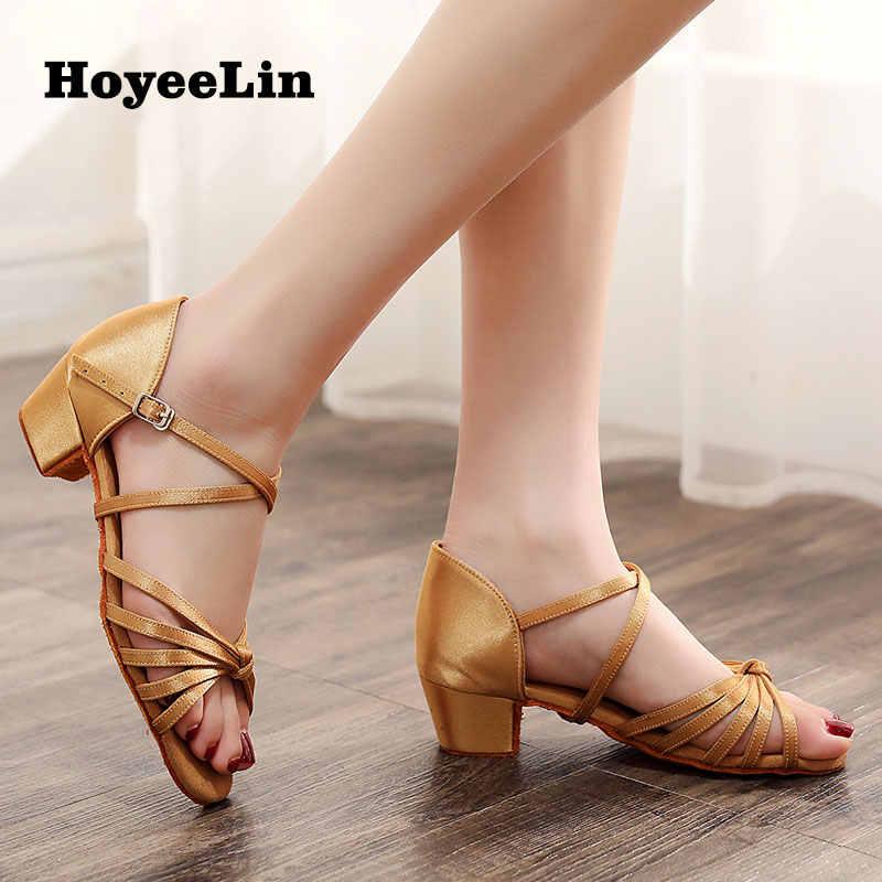 HoYeeLin Latino Sapatos de Dança de Mulheres Meninas 3 centímetros de Salto Baixo Do Dedo Do Pé Aberto Festa De Salão Salsa Rumba Dança Sapatos Sapatos Prática