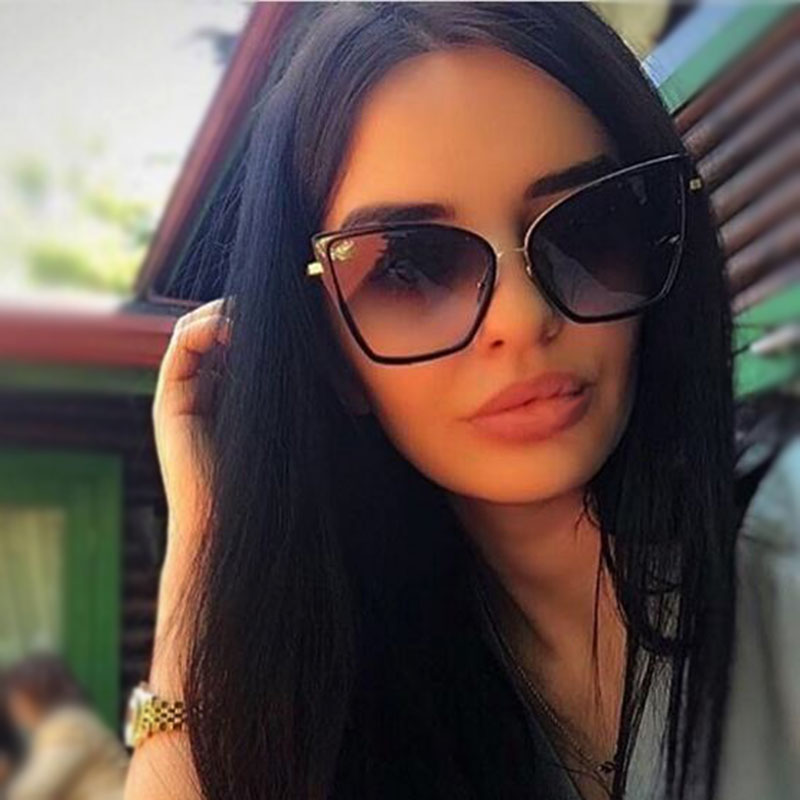VictoryLip 2016 Newest Arrival Oversized Sunglasses Women Fashion Cat Eye Sunglasses Vintage Brand Designer Hipster Sun Glasses