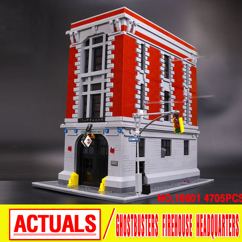 4705Pcs  New LEPIN 16001 Genuine Ghostbusters Firehouse Headquarters Model Building Kits Model set  Compatible  75827 4695pcs lepin 16001 city series firehouse headquarters house model building blocks compatible 75827 architecture toy to children
