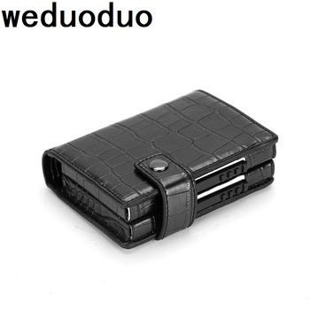 Weduoduo 2019 Fashion Men And Women Business Credit Card Holder Metal RFID Double Aluminium Box PU Leather Travel Card Wallet