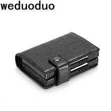 Weduoduo 2019 אופנה גברים ונשים כרטיס אשראי עסקי מחזיק מתכת RFID כפול אלומיניום תיבת עור מפוצל נסיעות כרטיס ארנק