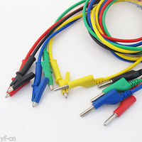 1set 5colors Silicone High Voltage 4mm Banana Plug To Alligator Clip Test Leads