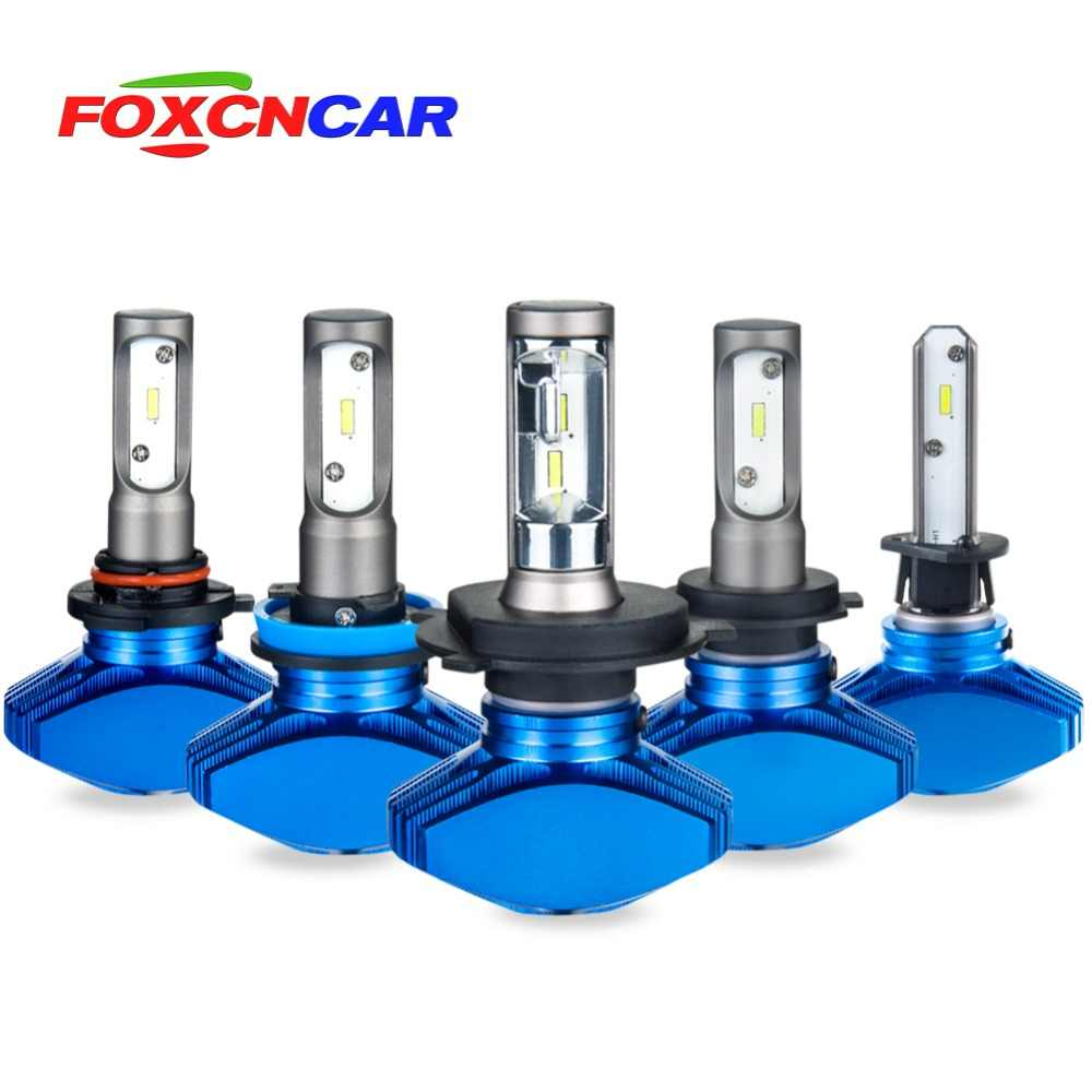 Foxcncar H7 H4 H11 Fanless H1 H3 9005 HB3 9006 HB4 Car LED Headlight Bulbs CSP Hi-Lo Beam 8000lm 6500K 12V 24V Outdoor No noise