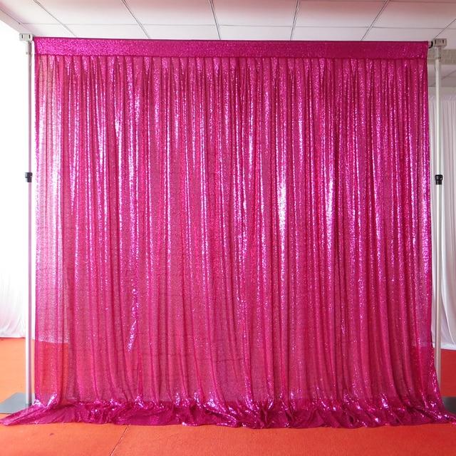 Free Shipping 3m 6m Fushia Sequin Wedding Backdrop Shiny Hot Pink Brithday Party Decorative Curtain