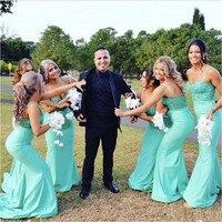 Новый Русалка мятно зеленого цвета Длинные свадебные платья 2019 развертки поезд бретельках индивидуальный заказ Свадьбы вечерние платье