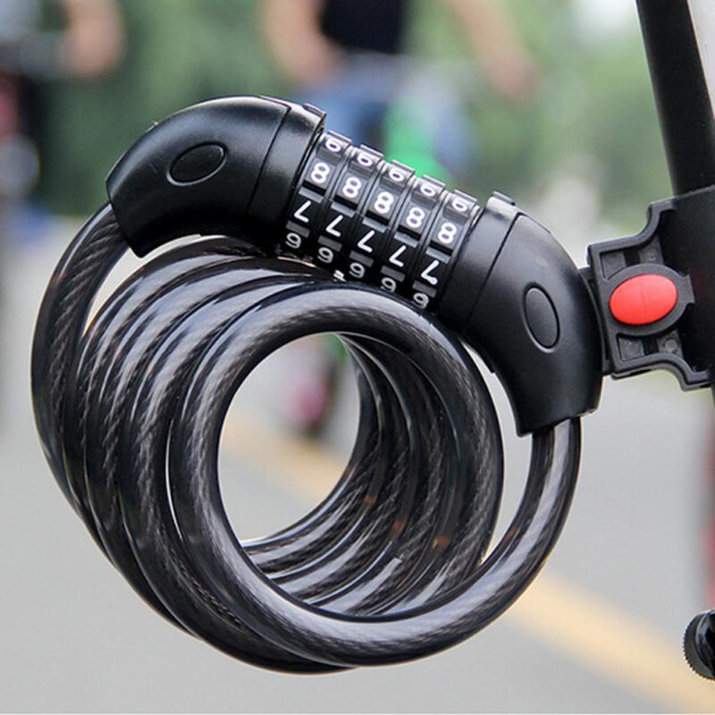 Serratura della bici 5 Cifre Codice di Combinazione Della Bicicletta Blocco di Sicurezza 1200mm x 12mm Cavo D'acciaio A Spirale Della Bici Ciclismo Blocchi catene e antifurti
