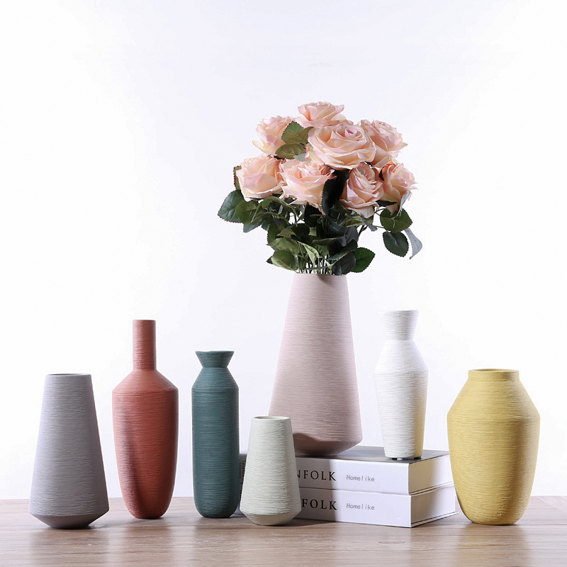Matte Ribbed Ceramic Flower Vase Decorative Porcelain Floral Vase Table Top Centerpieces For Home Decor Living Room And Office
