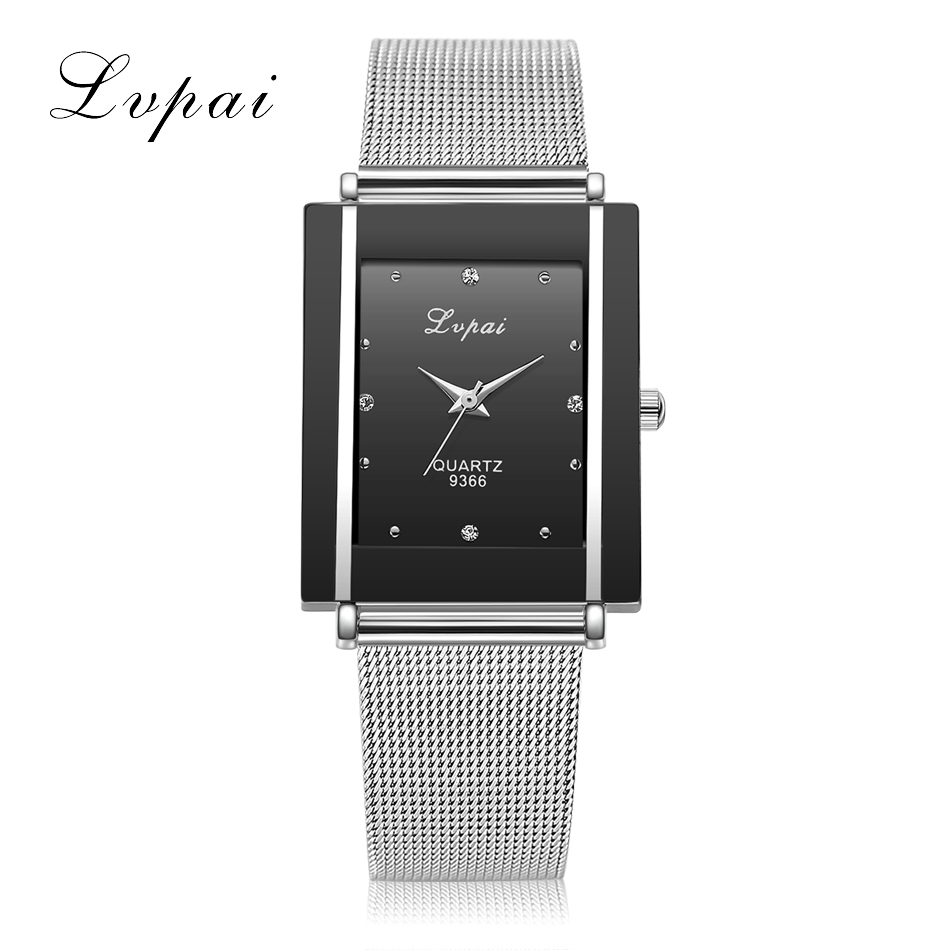 Lvpai Brand Silver Ladies Wristwatch Watch Luxury Rectangle Casual Watches Women Dress Casual Wristwatch Lady Quartz-Watch Clock