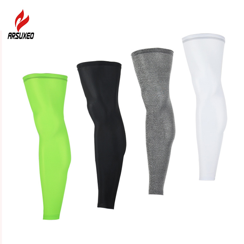 One Pair Anti UV Cycling Legwarmers Compression Bike Sports Leggings Running Hiking Basketball Soccer Leg Sleeves Sports Safety