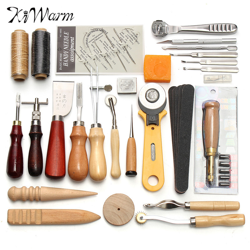 18PCS Leather Craft Tools Kit Sculpture Work Saddle Stitching Sewing Punch Leathercraft Accessories for DIY Hand Leather Working Multi-Colors