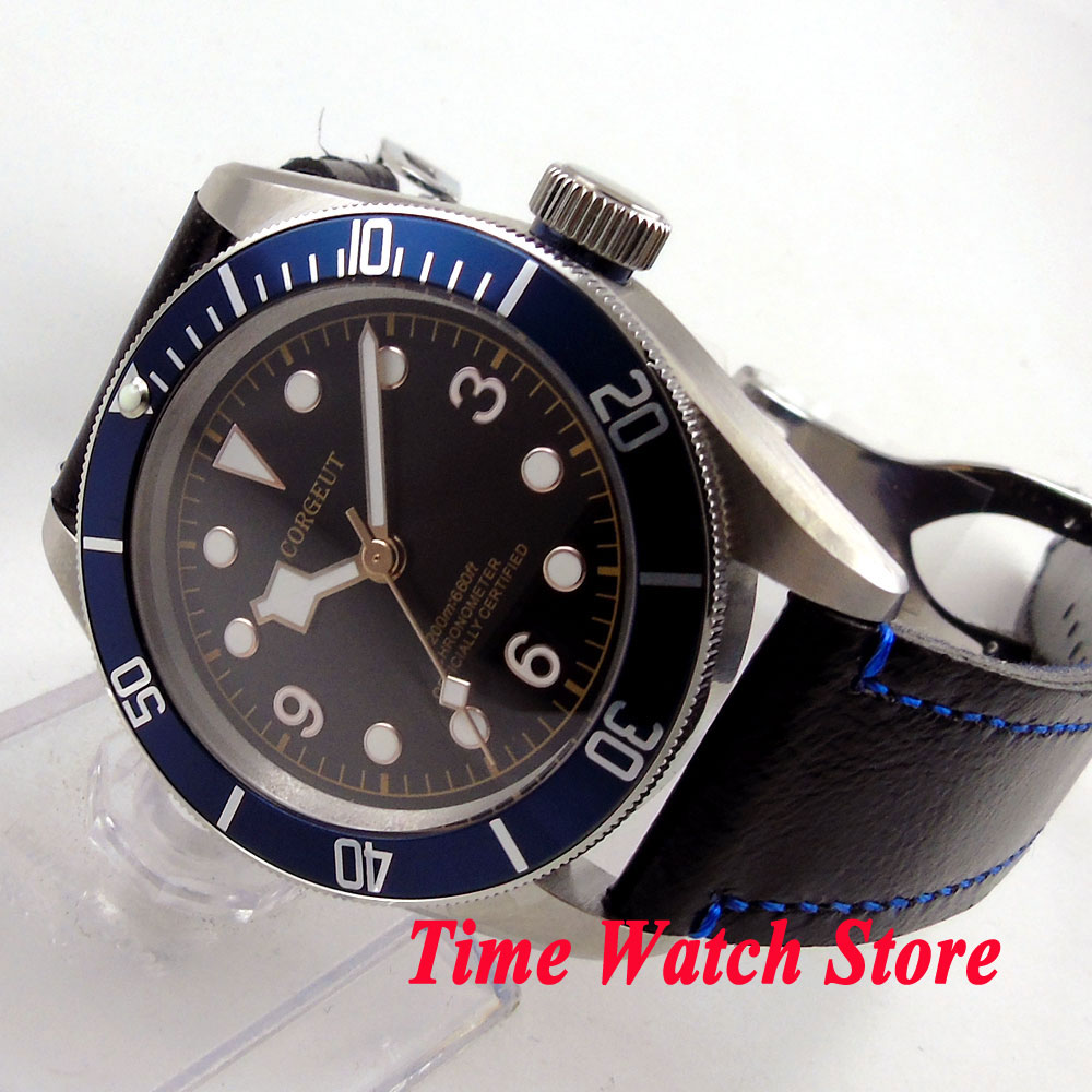 41mm Corgeut watch black dial golden marks blue Bezel sapphire glass MIYOTA Automatic movement Men's watch cor70 polisehd 41mm corgeut black dial sapphire glass miyota automatic mens watch c102