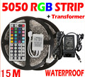15M 5050 LED Strip Waterproof RGB Warm White Cool White + 44Key Remote + 6A Transformer for Garden Party Lights