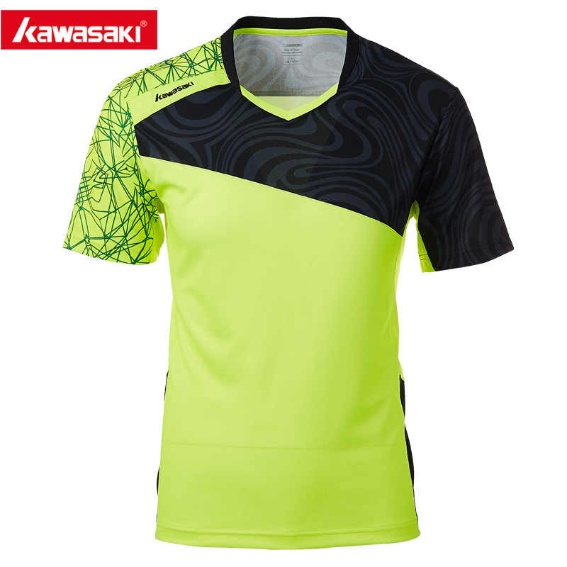 KAWASAKI Green Sports T-Shirt for Men V Collar Short Sleeve Badminton Tennis Shirt Male Fitness Gym Dry Fit Sportswear ST-T1019