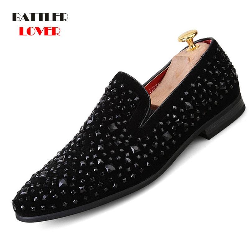 Mens Loafers Luxury Shoes Black Spikes Fashion Brand Denim Metal Sequins Casual Men Shoes Men Dress Bussiness Shoes Oxford