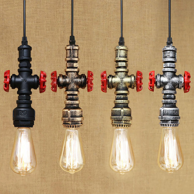 Retro Vintage Loft Industria Iron Water Pipe Pendant Lamp Cord E27 Lights  For Bar/cafe