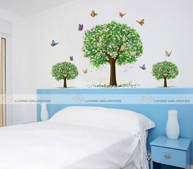 Pengiriman Gratis Dinding Diy Stiker Pohon Kertas Tanaman Hiasan Untuk